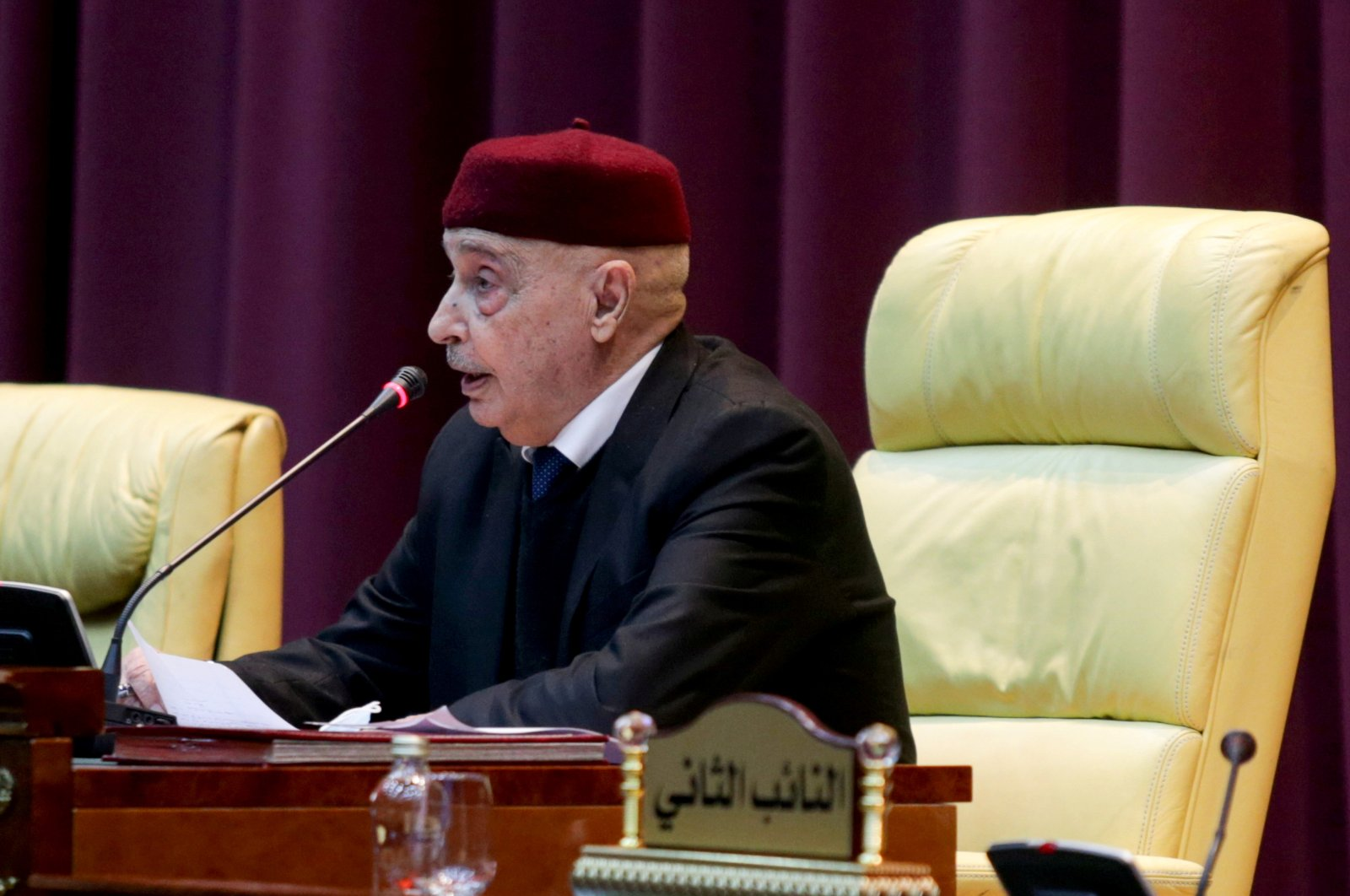 Parliament head Aguila Saleh attends a session to discuss approving the new government, in Sirte, Libya, March 8, 2021. (REUTERS Photo)