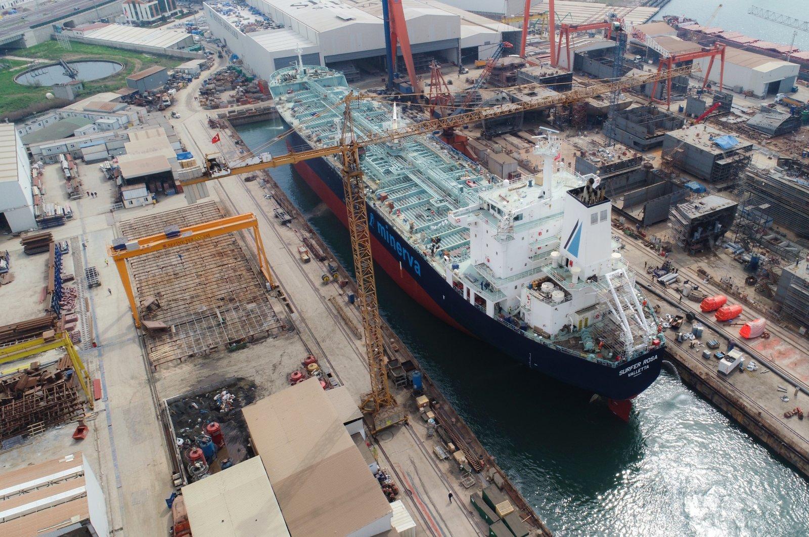A ship is seen at the Sefine Shipyard in Yalova, northwestern Turkey in this undated photo. (Courtesy of Sefine Shipyard)