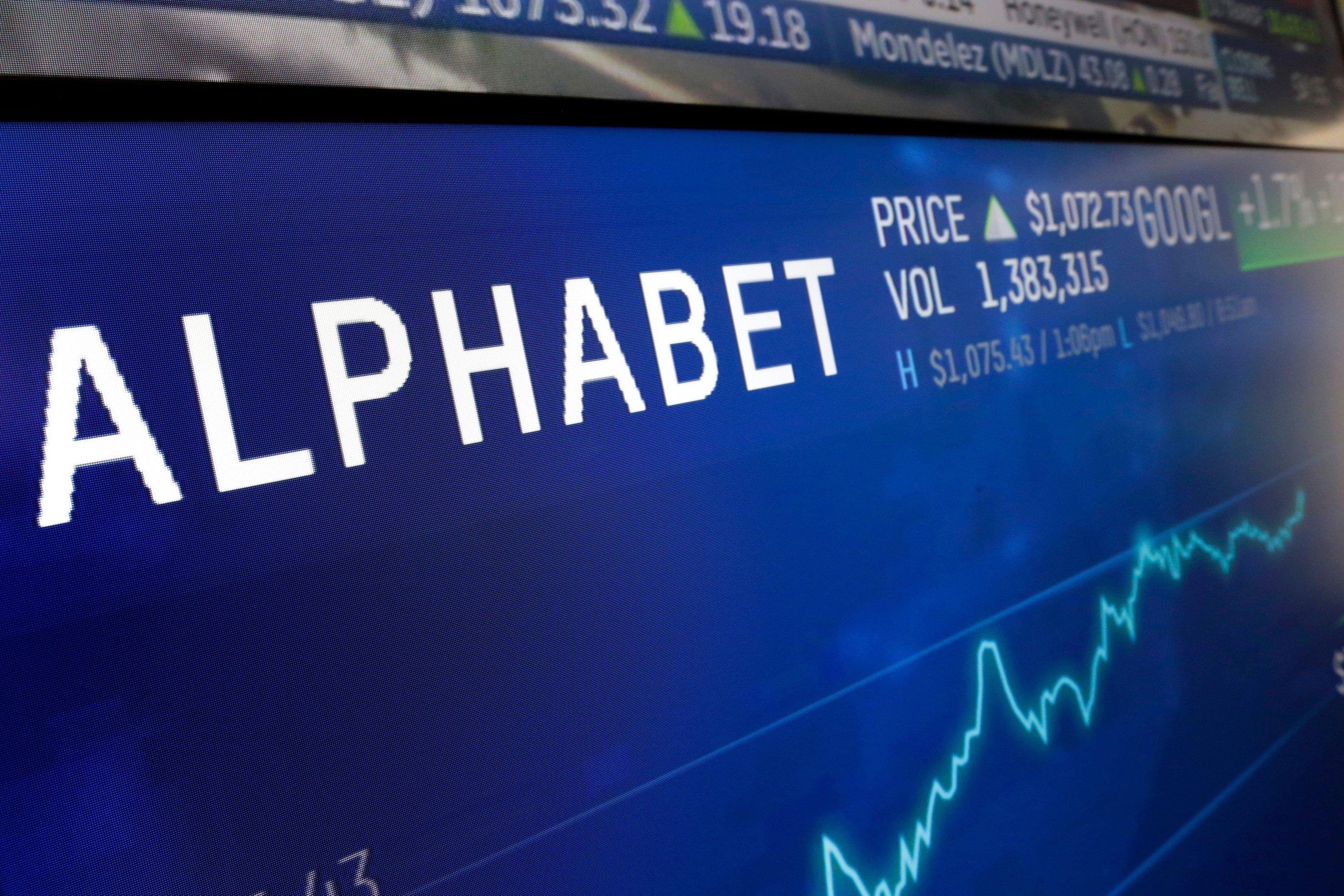 The logo for Alphabet appears on a screen at the Nasdaq MarketSite in New York, U.S., Feb. 14, 2018. (AP Photo)