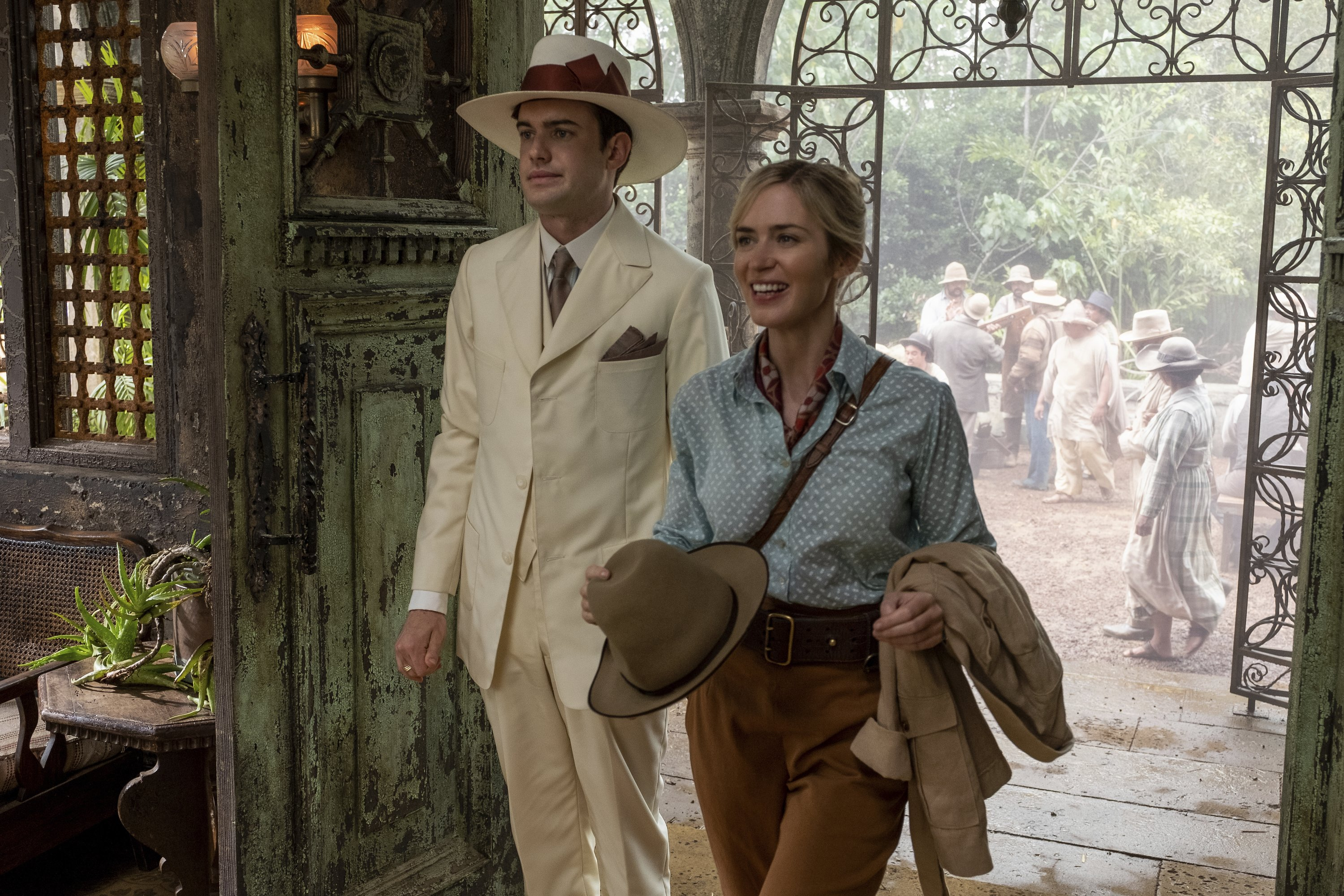 Jack Whitehall, left, and Emily Blunt in a scene from 'Jungle Cruise.' (Disney via AP)
