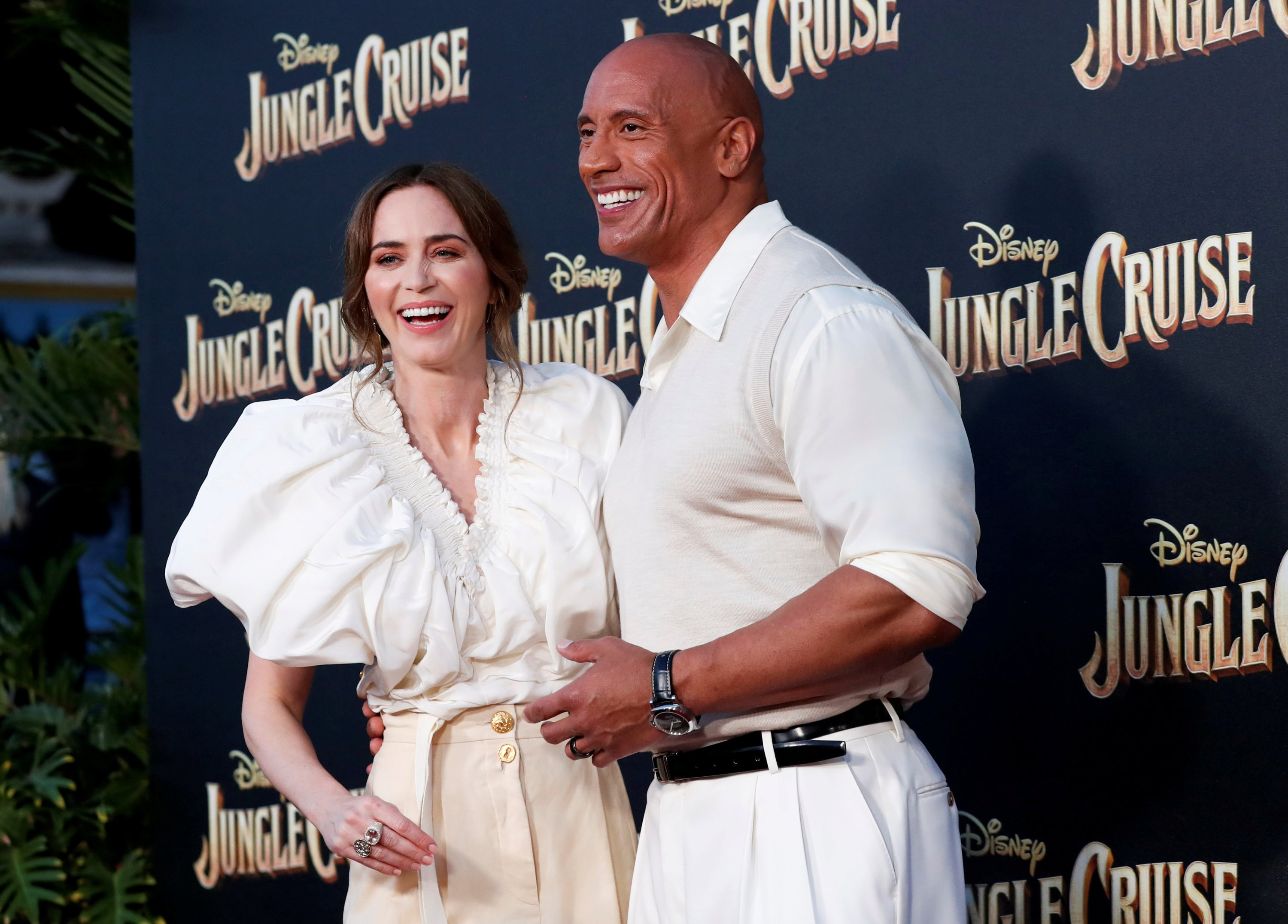 Cast members Dwayne Johnson and Emily Blunt attend the premiere of the film 'Jungle Cruise' at Disneyland Park in Anaheim, California, U.S., on July 24, 2021. (Reuters)