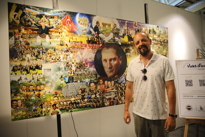 Burak Karavit poses in front of his 'Vakt-i Fener' at Bodrum Art and Antique Fair, Muğla, southwestern Turkey, June 27, 2021. (AA Photo)