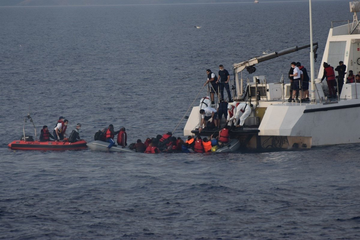 Turkish coast guard units rescue irregular migrants in the Aegean Sea, Turkey, June 15, 2020. (AA Photo)