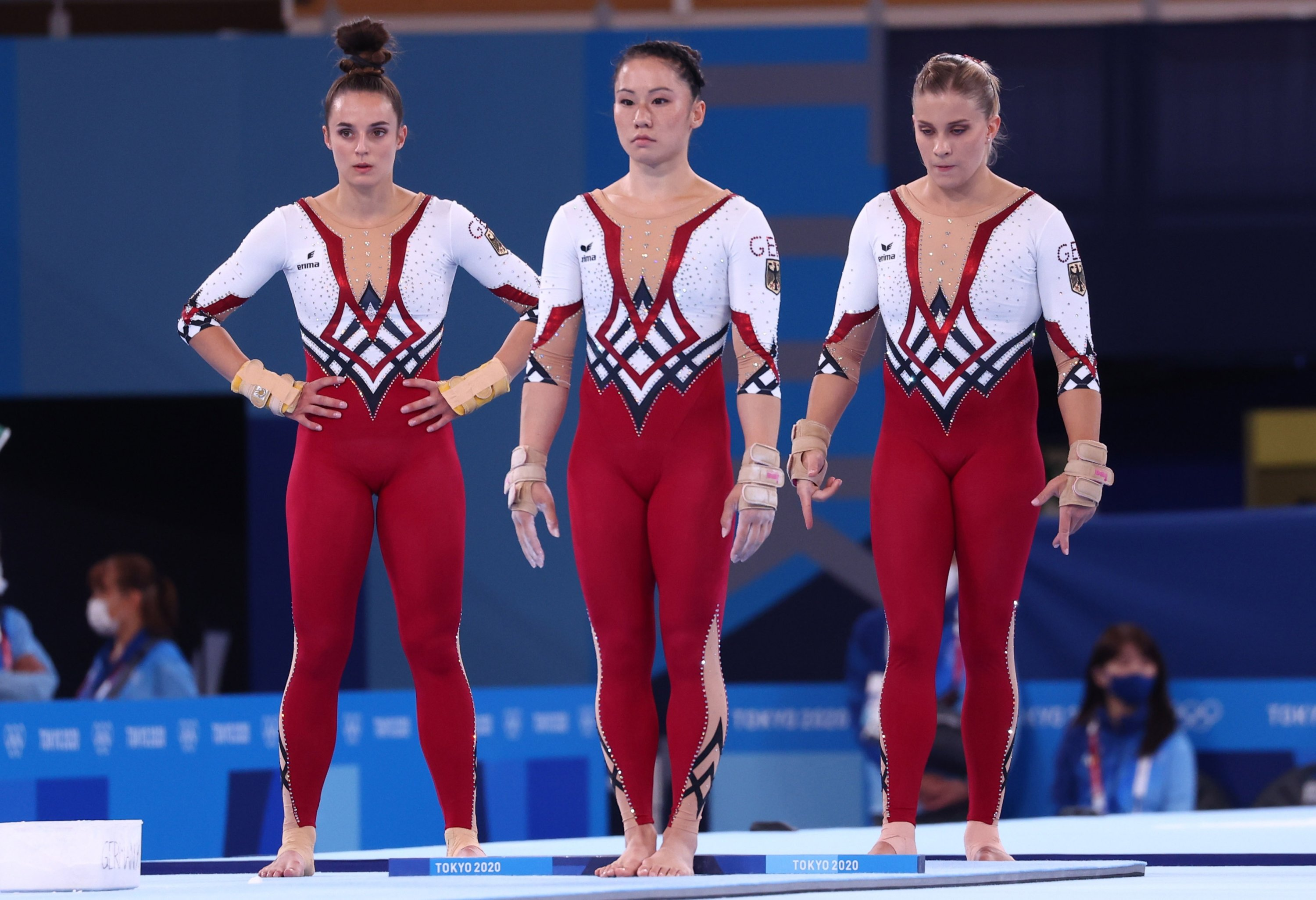 (From L to R) German gymnasts Pauline Schaefer, Kim Bui and Elisabeth Seitz seen in their unitards during a Tokyo 2020 Olympics Gymnastics event at Ariake Gymnastics Centre, Tokyo, Japan, July 25, 2021. (Reuters Photo)