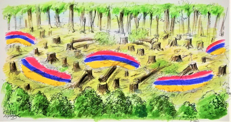 Illustration by Erhan Yalvaç criticizes Armenia's ecological invasion of Azerbaijan's Okchuchay.