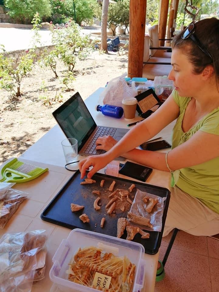 A scientist examines recently unearthed fish skeletons in Patara, Antalya, southern Turkey, July 28, 2021 (AA Photo)