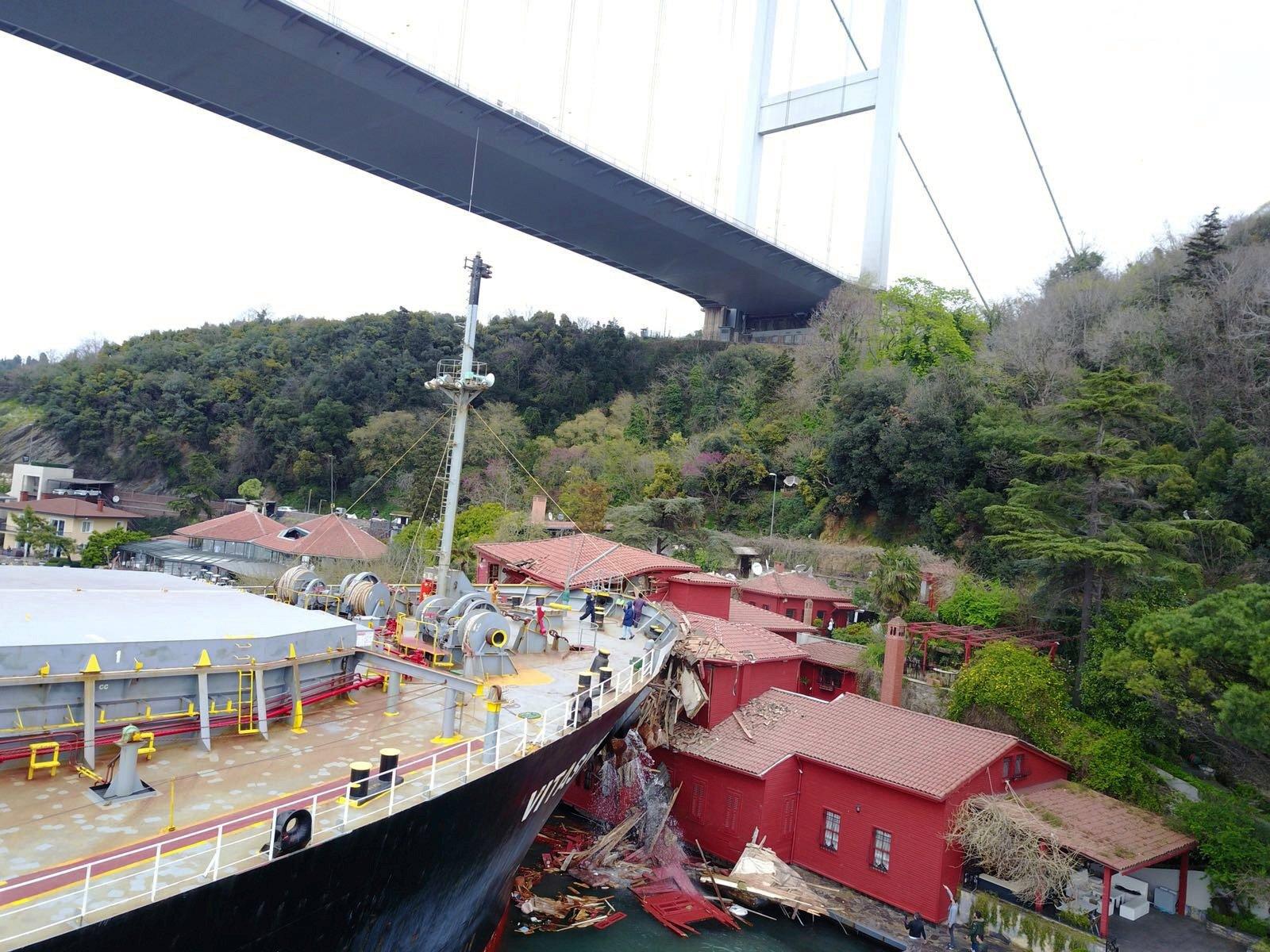 A 225-meter ship crashed into the Hekimbaşı Salih Efendi Mansion on the Bosporus, Istanbul, Turkey, on April 7, 2021. (IHA Photo)