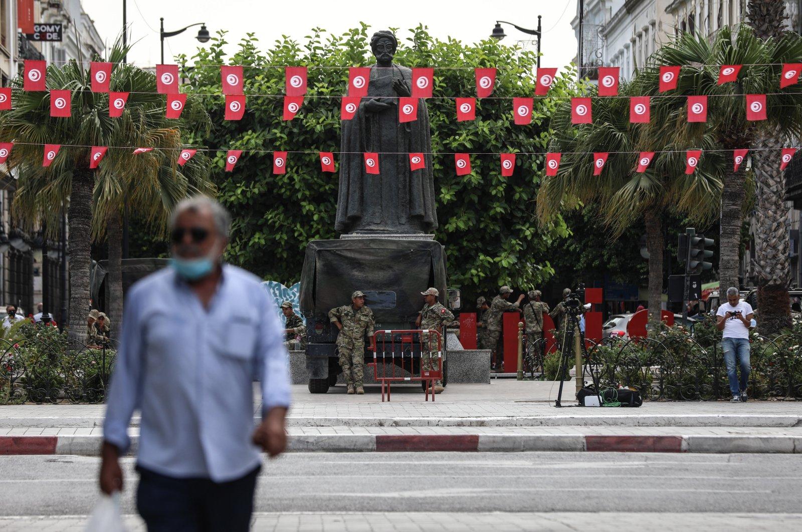 The Tunisian army monitors the main street Habib Bourguiba, in Tunis, Tunisia, July 27, 2021. (EPA Photo)