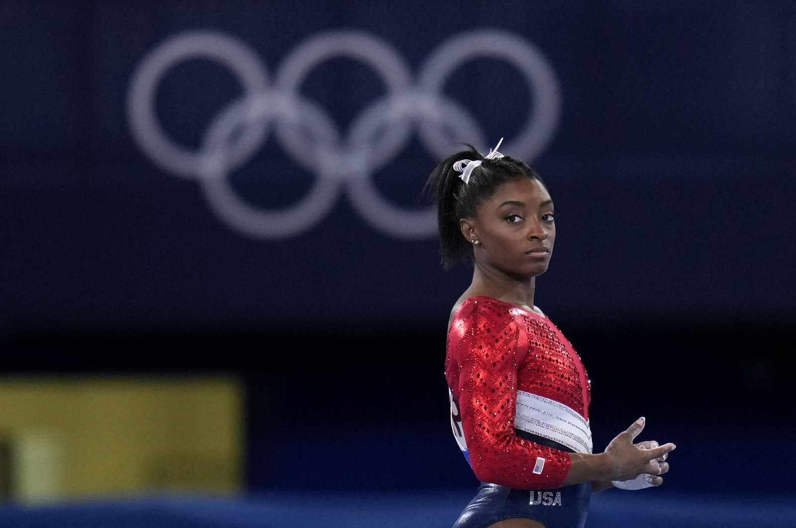 Simone Biles, of the United States, waits to perform on the vault during the artistic gymnastics women's final at the 2020 Summer Olympics, Tokyo, Japan, July 27, 2021. (AP Photo)