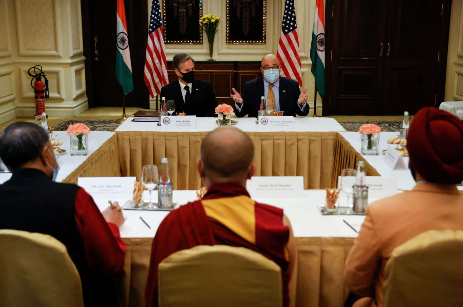 U.S. Secretary of State Antony Blinken and U.S. Ambassador to India Atul Keshap deliver remarks to civil society organization representatives in a meeting room at the Leela Palace Hotel in New Delhi, India, July 28, 2021. (Reuters Photo)