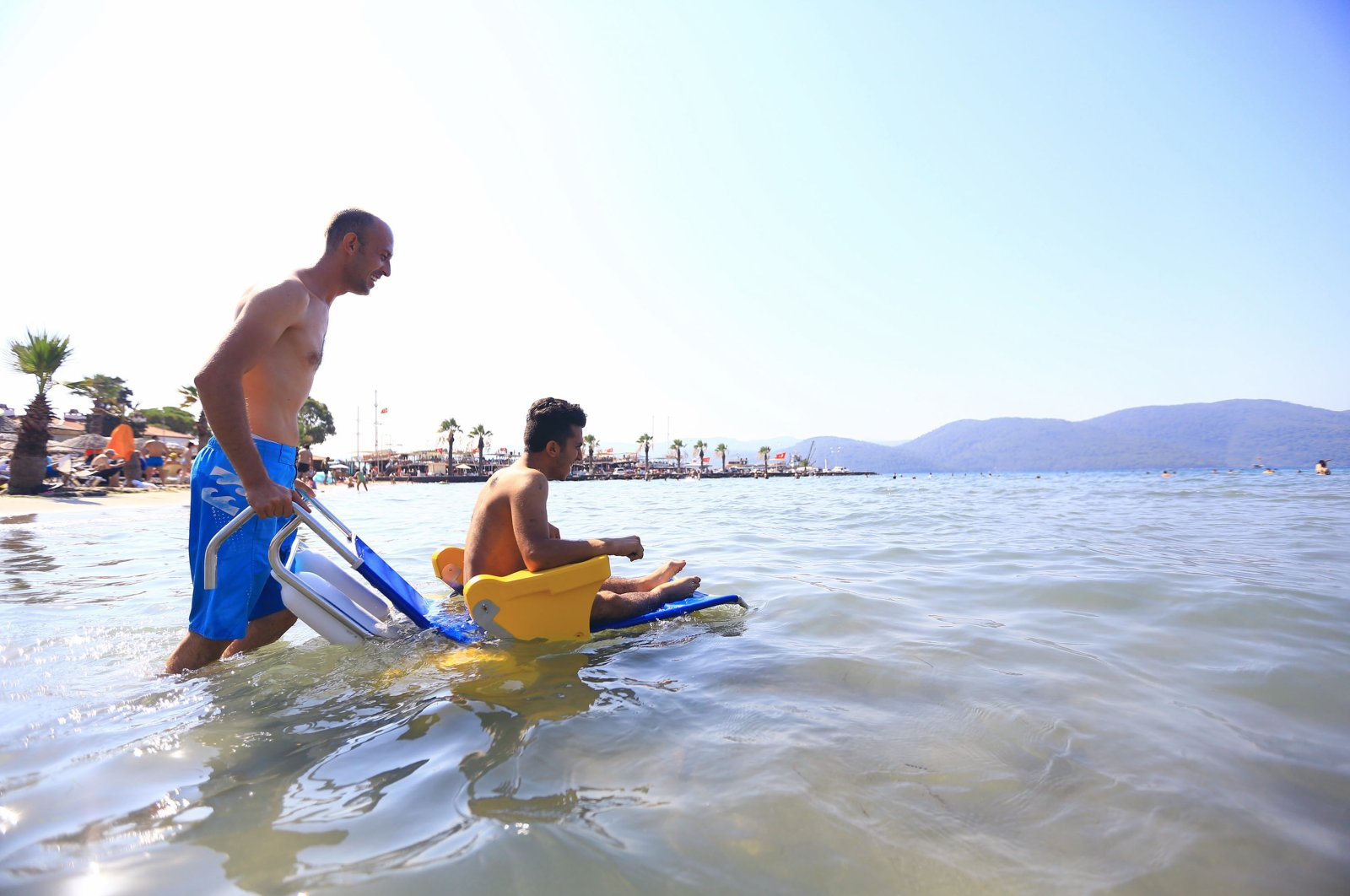In 2016, Muğla's Metropolitan Municipality launched a project that helps disabled citizens enjoy the sea. (IHA Photo)