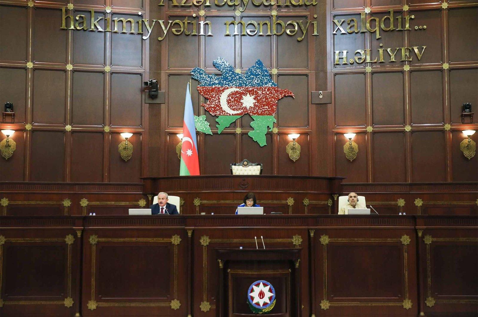 Turkish, Azerbaijani and Pakistani parliament speakers at the Azerbaijani Parliament in Baku, Azerbaijan, Tuesday, July 27, 2021. (AA Photo)