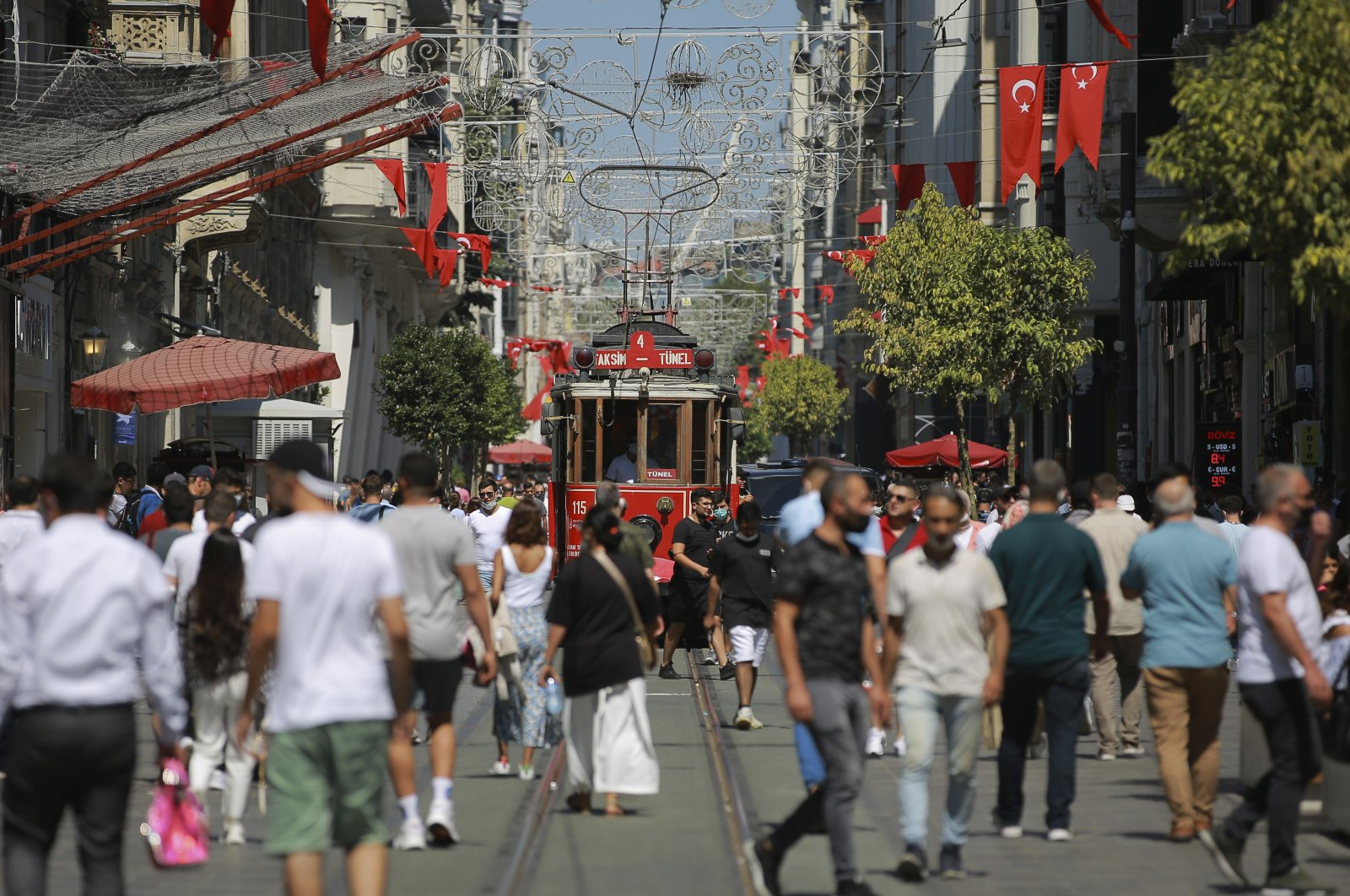 People wearing protective masks and those not wearing any walk along Istiklal Avenue, in Istanbul, Turkey, July 27, 2021. (AP PHOTO)