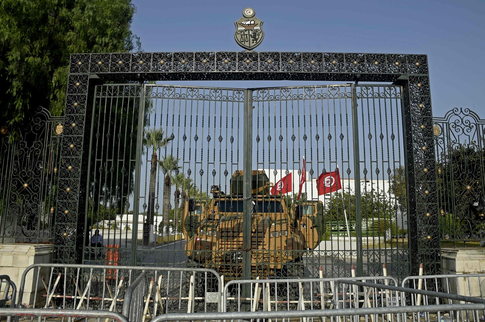 The Tunisian army barricades the parliament building in the capital after the president dismissed the prime minister and ordered parliament closed for 30 days, Tunis, Tunisia, July 26, 2021. (AFP Photo)