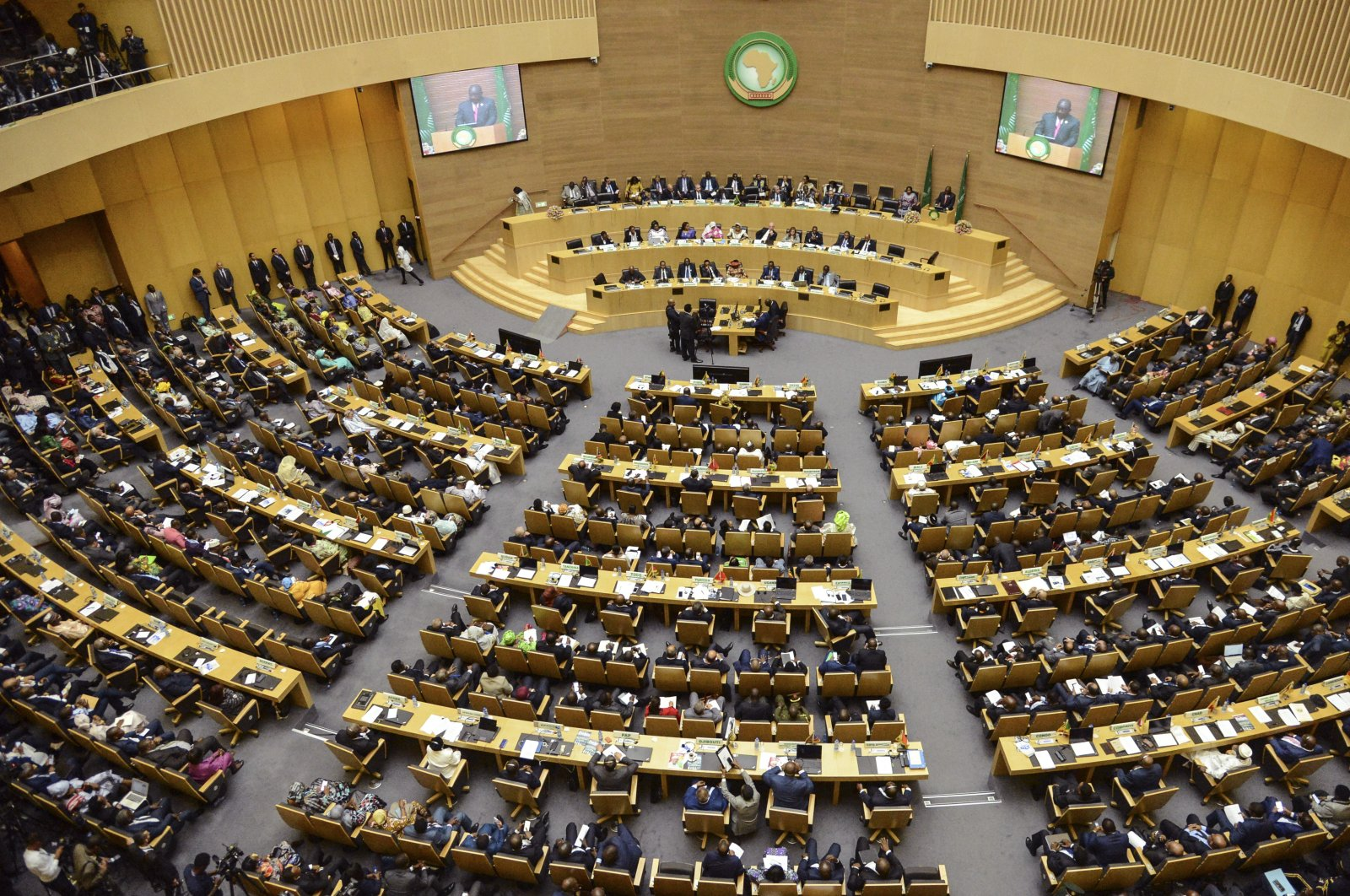 Delegates attend the opening session of the 33rd African Union (AU) Summit at the AU headquarters in Addis Ababa, Ethiopia Sunday, Feb. 9, 2020. (AP Photo)