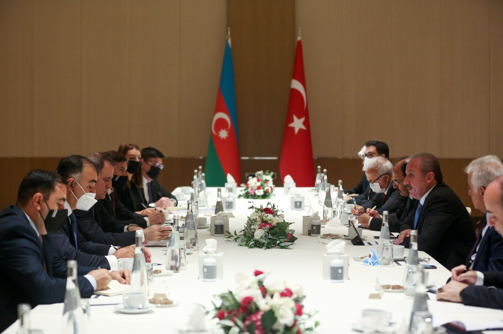 Turkey's Parliament Speaker Mustafa Şentop meets with Azerbaijan's Foreign Minister Jeyhun Bayramov in a delegation meeting in Baku, Azerbaijan, on July 28, 2021. (AA Photo)