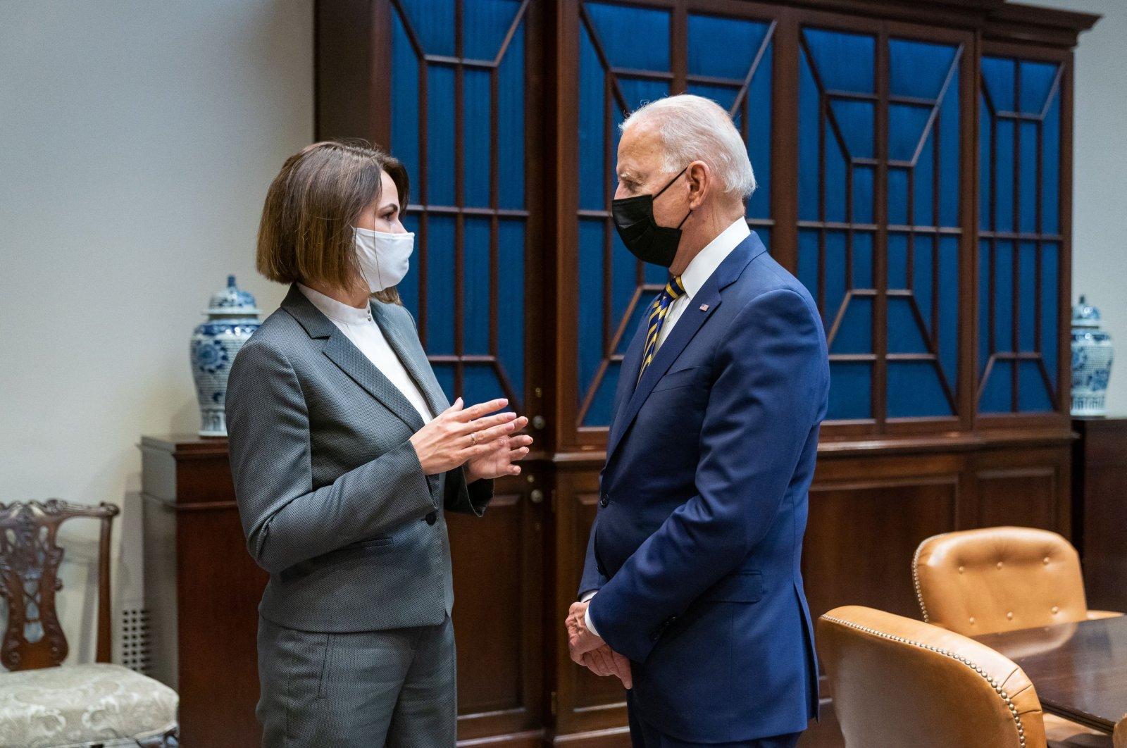 U.S. President Joe Biden meets with Belarus opposition leader Svetlana Tikhanovskaya at the White House in Washington, D.C., U.S., July 28, 2021. (AFP Photo/The White House)