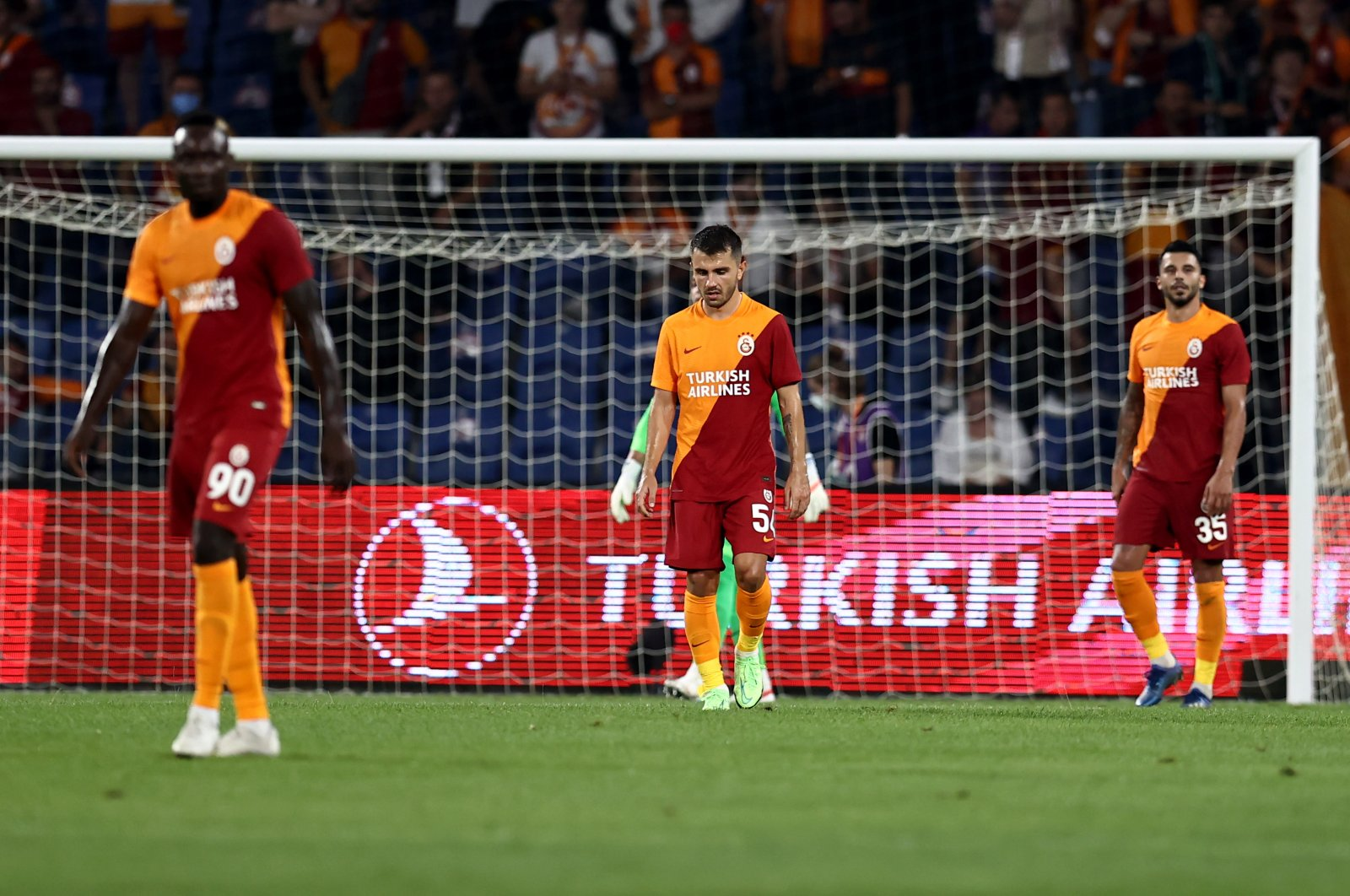 Galatasaray players are seen after the defeat against PSV Eindhoven at the Fatih Terim Stadium, Istanbul, Turkey, July 28, 2021. (AA Photo)
