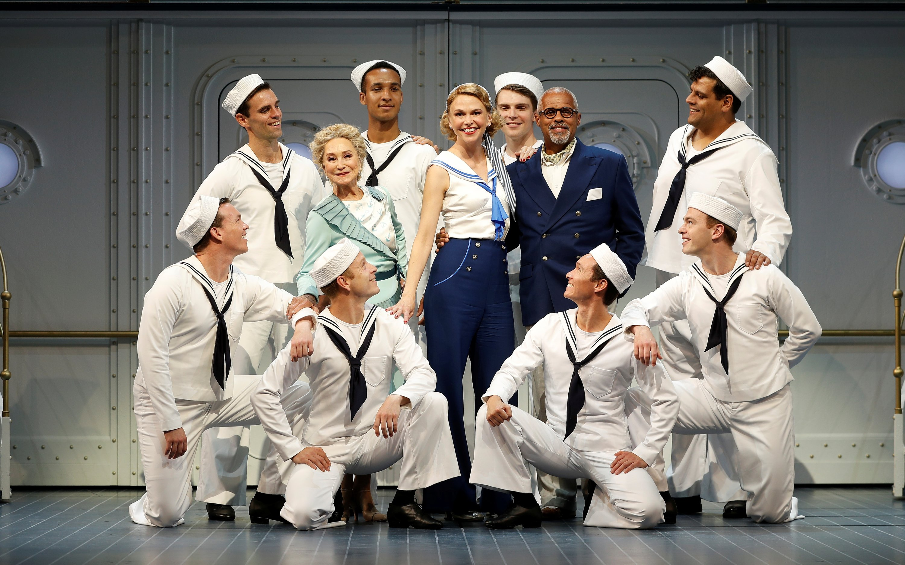 Felicity Kendal, Sutton Foster and Gary Wilmot and some members of the cast pose for a photograph during a media day for the show 'Anything Goes,' running at the Barbican Centre theater, in London, Great Britain, July 28, 2021. (REUTERS Photo)