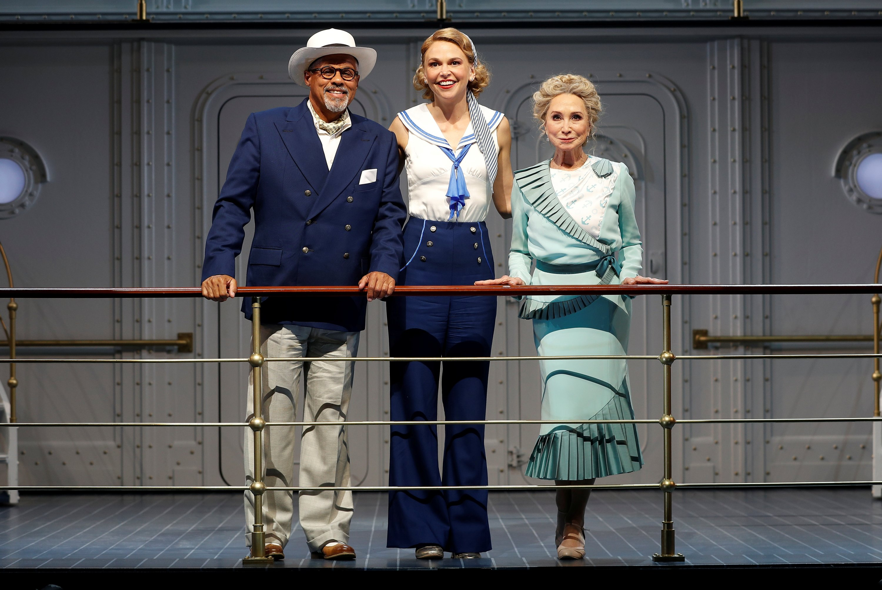 Gary Wilmot, Sutton Foster and Felicity Kendal pose for a photograph during a media day for the show 'Anything Goes,' running at the Barbican Centre theater, in London, Britain, July 28, 2021. (REUTERS Photo)