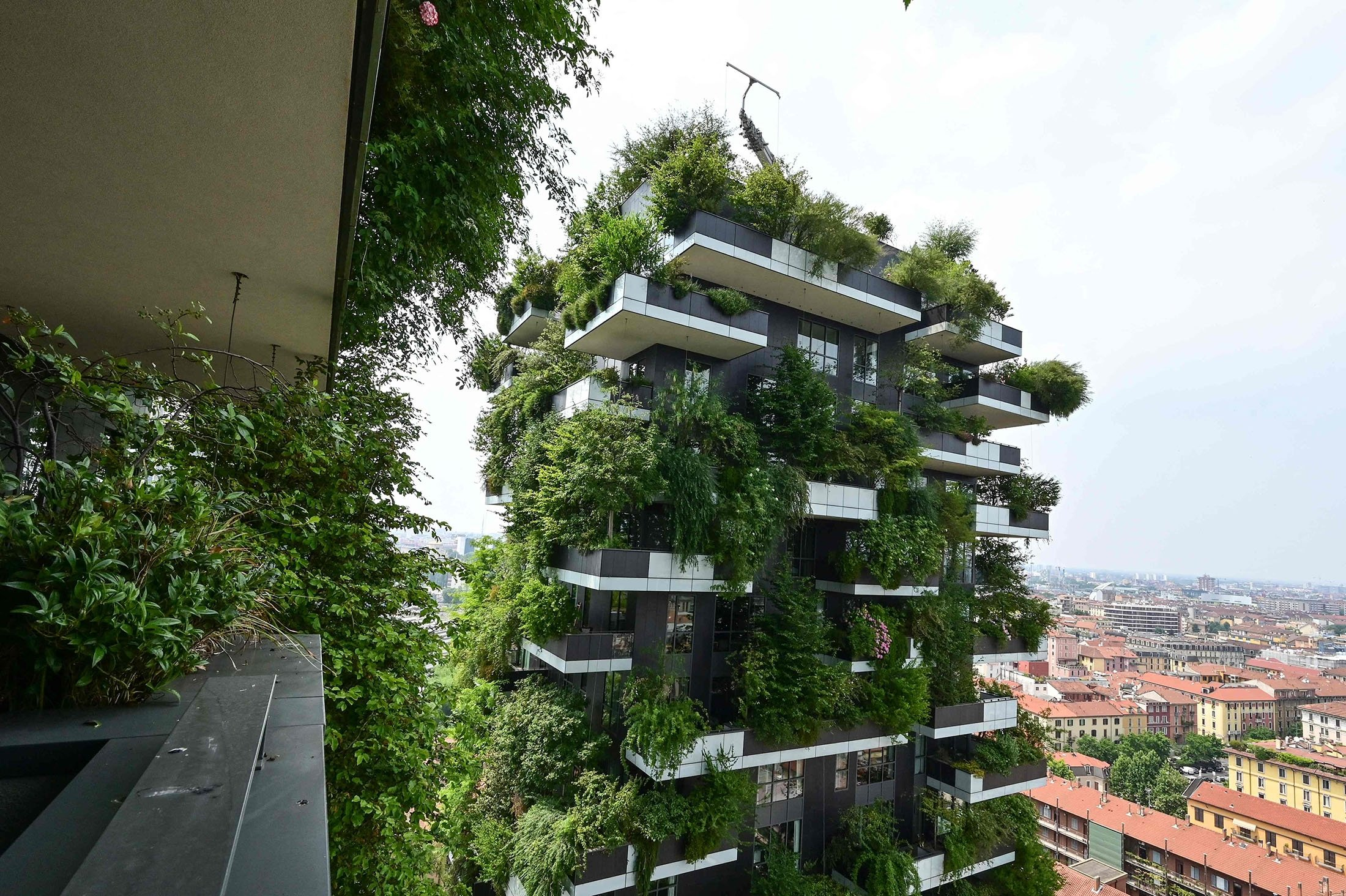 A view from a balcony of the Vertical Forest high-rise complex (Bosco Verticale), designed by Studio Boperi, can be seen in the modern district of Puerta Nuova in Milan with vegetation in the building, Italy, June 17, 2021. (AFP Photo)