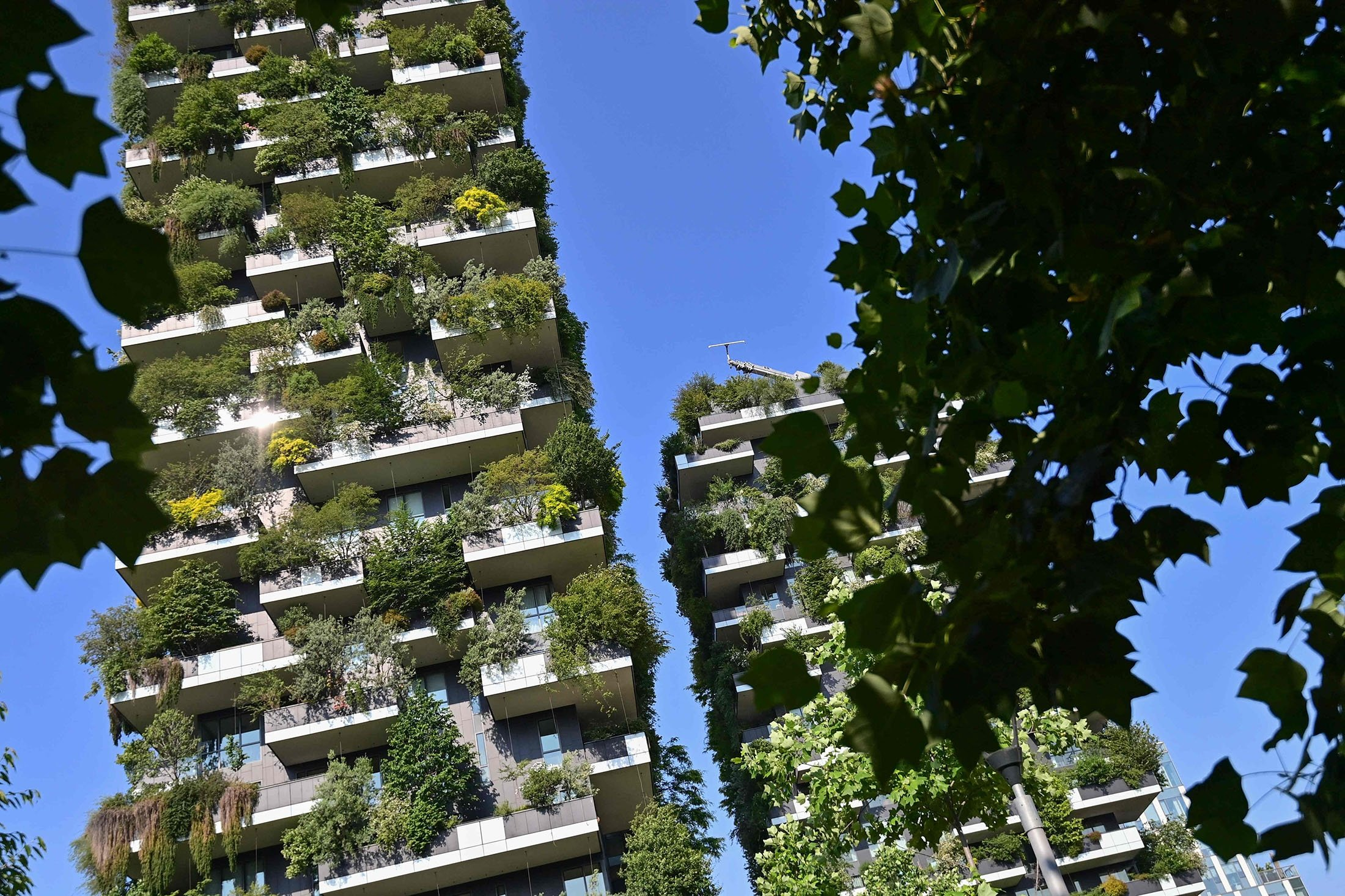 The architectural complex called Vertical forest (Bosco Verticale) designed by Studio Boeri can be seen in the modern district of Porta Nuova in Milan, Italy, June 2, 2021. (AFP Photo)
