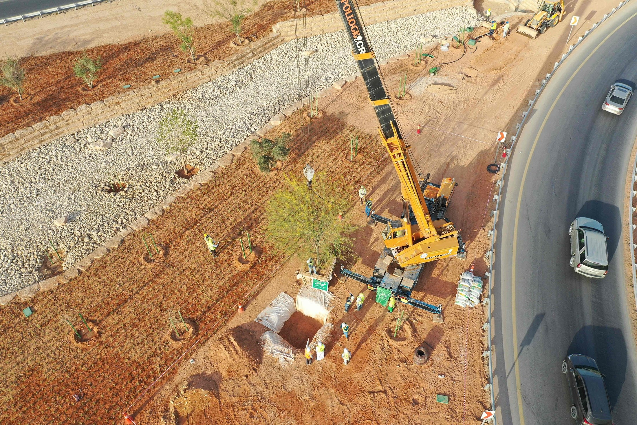 An aerial picture shows workers using a crane to plant trees in a park project by the roadside in the Saudi capital Riyadh, Saudi Arabia, March 29, 2021. (AFP Photo)