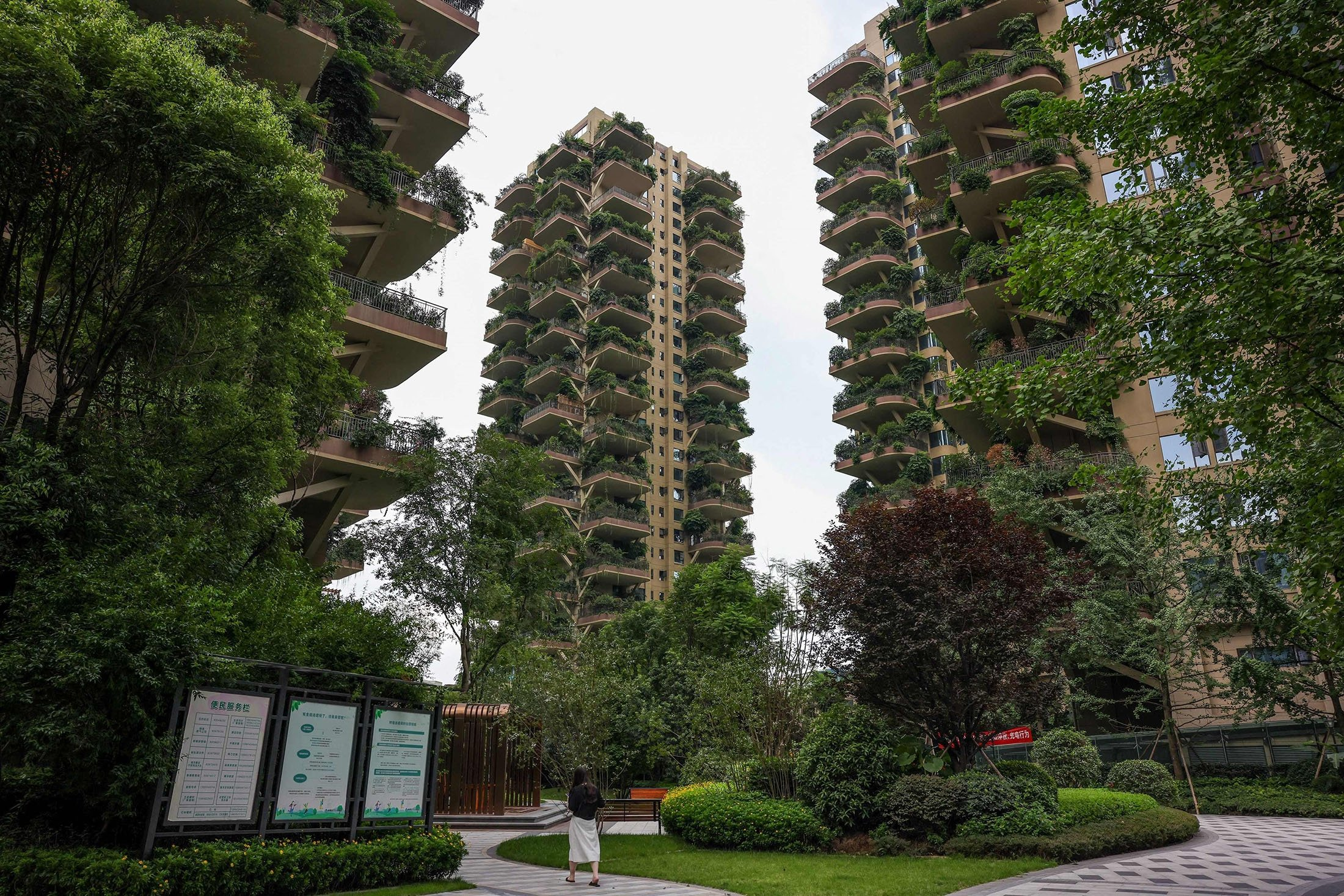 Apartment blocks with balconies can be seen covered with plants at a residential community in Chengdu in China's southwestern Sichuan province, China, July 12, 2021.  (AFP Photo)