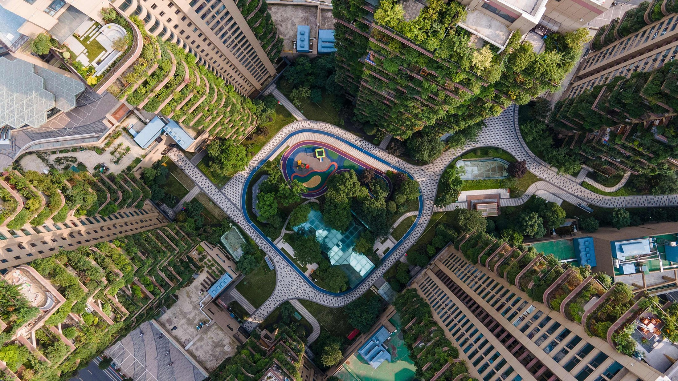 Apartments with balconies covered with plants can be seen at a residential community in Chengdu in China's southwestern Sichuan province, China, July 12, 2021. (AFP Photo)