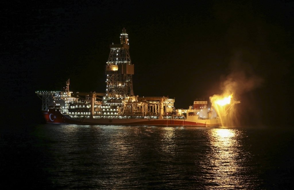 A gas flares from Turkey's Kanuni drillship in the Black Sea, July 28, 2021. (IHA Photo)