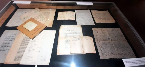 Ahmet Hamdi Tanpınar's manuscripts in the exhibition, Tarık Zafer Tunaya Center, Istanbul. (Archive Photo)