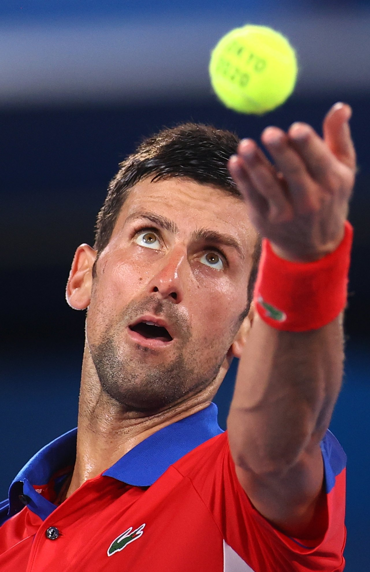 Serbia's Novak Djokovic in action during Tokyo 2020 Games tennis men's singles quarterfinal match Japan's Kei Nishikori,Ariake Tennis Park, Tokyo, Japan, July 29, 2021 (Reuters Photo)