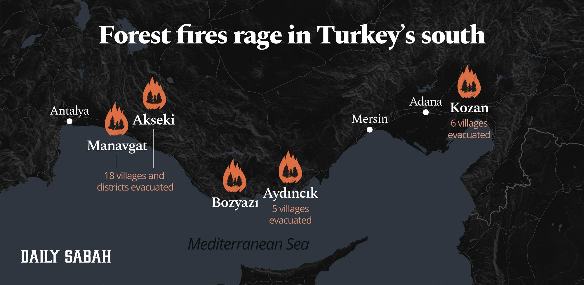An infographic shows areas affected by forest fires in Turkey. (By: Adil-Girey Ablyatifov / Daily Sabah)