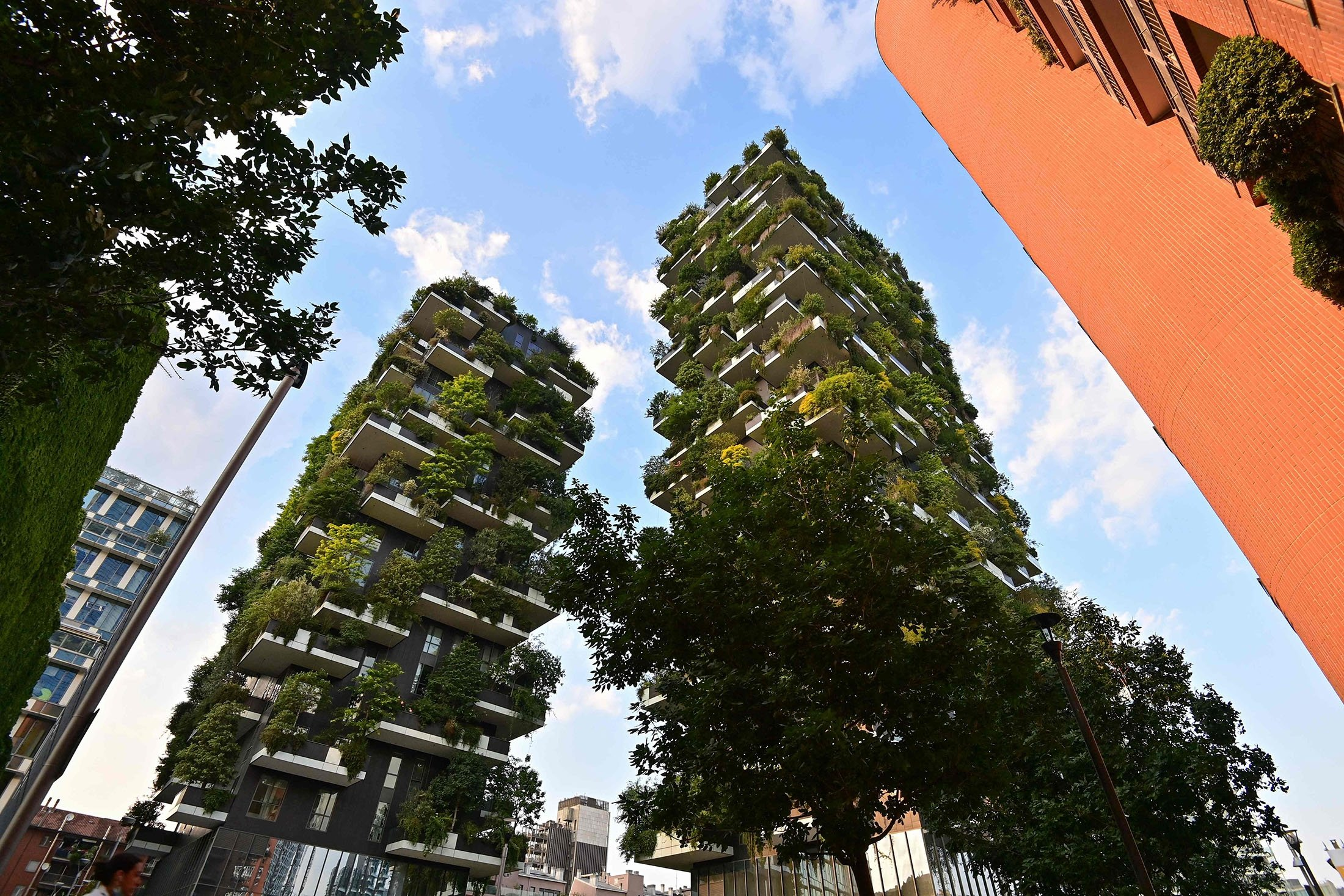 A detail of the balconies of the architectural complex called Vertical forest (Bosco Verticale) designed by Studio Boeri can be seen in the modern district of Porta Nuova in Milan, Italy, June 2, 2021. (AFP Photo)