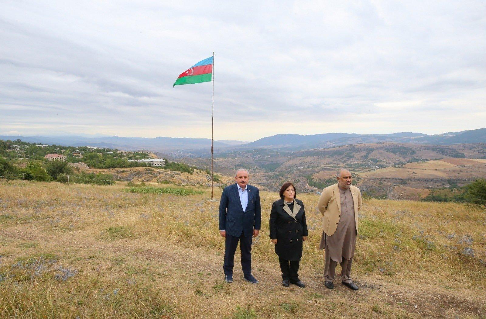 Turkey's Parliament Speaker Mustafa Şentop (L) visits Shusha, Azerbaijan, July 28,2 2021. (IHA Photo)