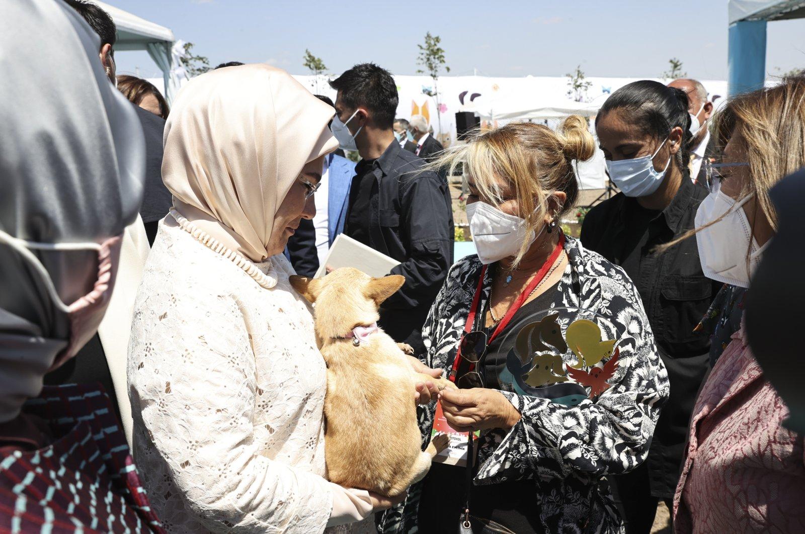 First lady EmineErdoğan (L) presentsa puppy to artist Yonca Evcimik in Ankara, Turkey, July 28, 2021. (AA Photo)