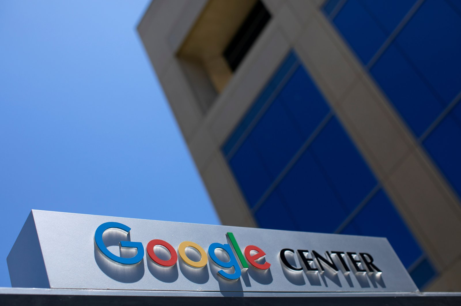 After the company announced it would extend its COVID-19 work-from-home order until summer 2021, a  Google sign is shown at one of the company's office complexes in Irvine, California, U.S., July 27, 2020. (Reuters Photo)