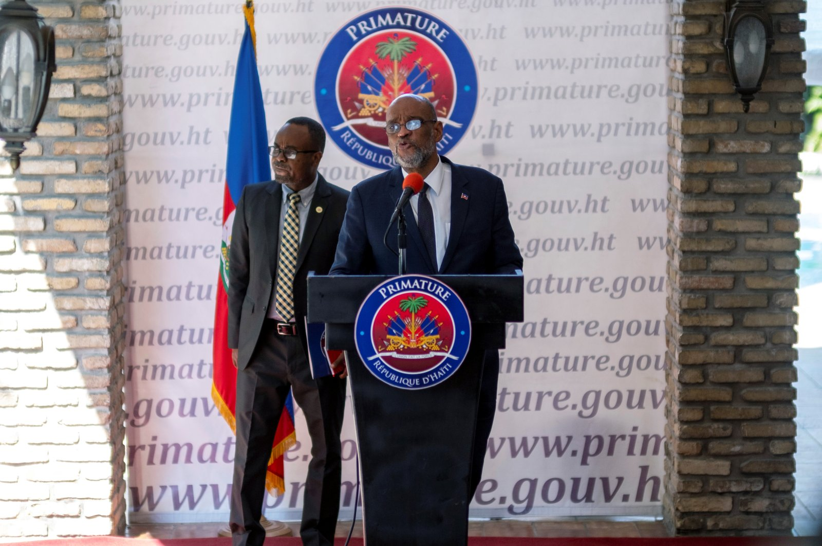 Haiti's Prime Minister Ariel Henry speaks during a news conference in Port-au-Prince, Haiti July 28, 2021. (Reuters Photo)