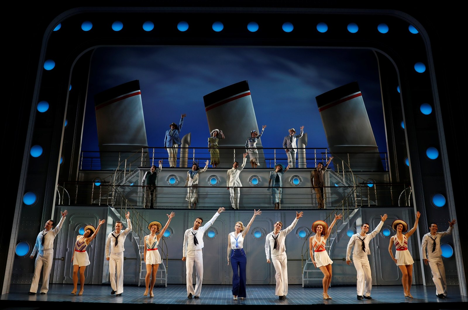 """Sutton Foster and the cast of  """"Anything Goes"""" perform during a media day for the show running at the Barbican Centre theater, in London, Britain, July 28, 2021. (REUTERS Photo)"""