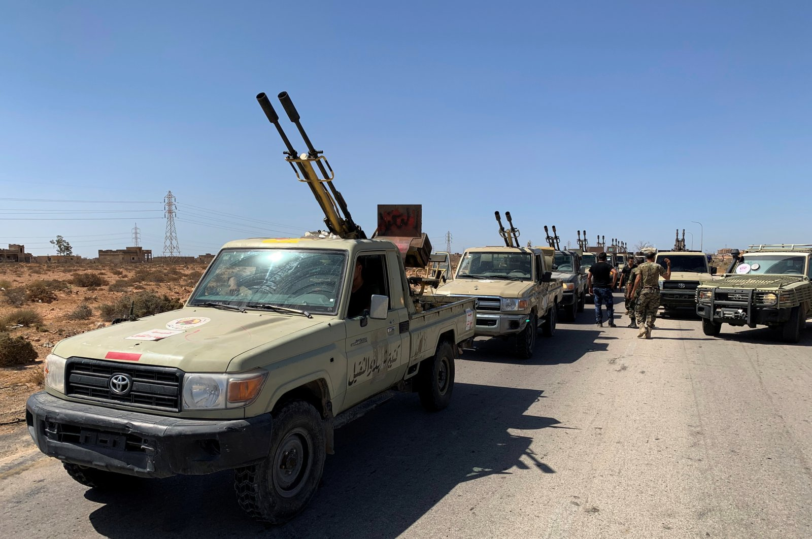 Troops loyal to Libya's internationally recognized government are seen in military vehicles as they prepare before heading to Sirte, on the outskirts of Misrata, Libya, July 18, 2020. (Reuters File Photo)