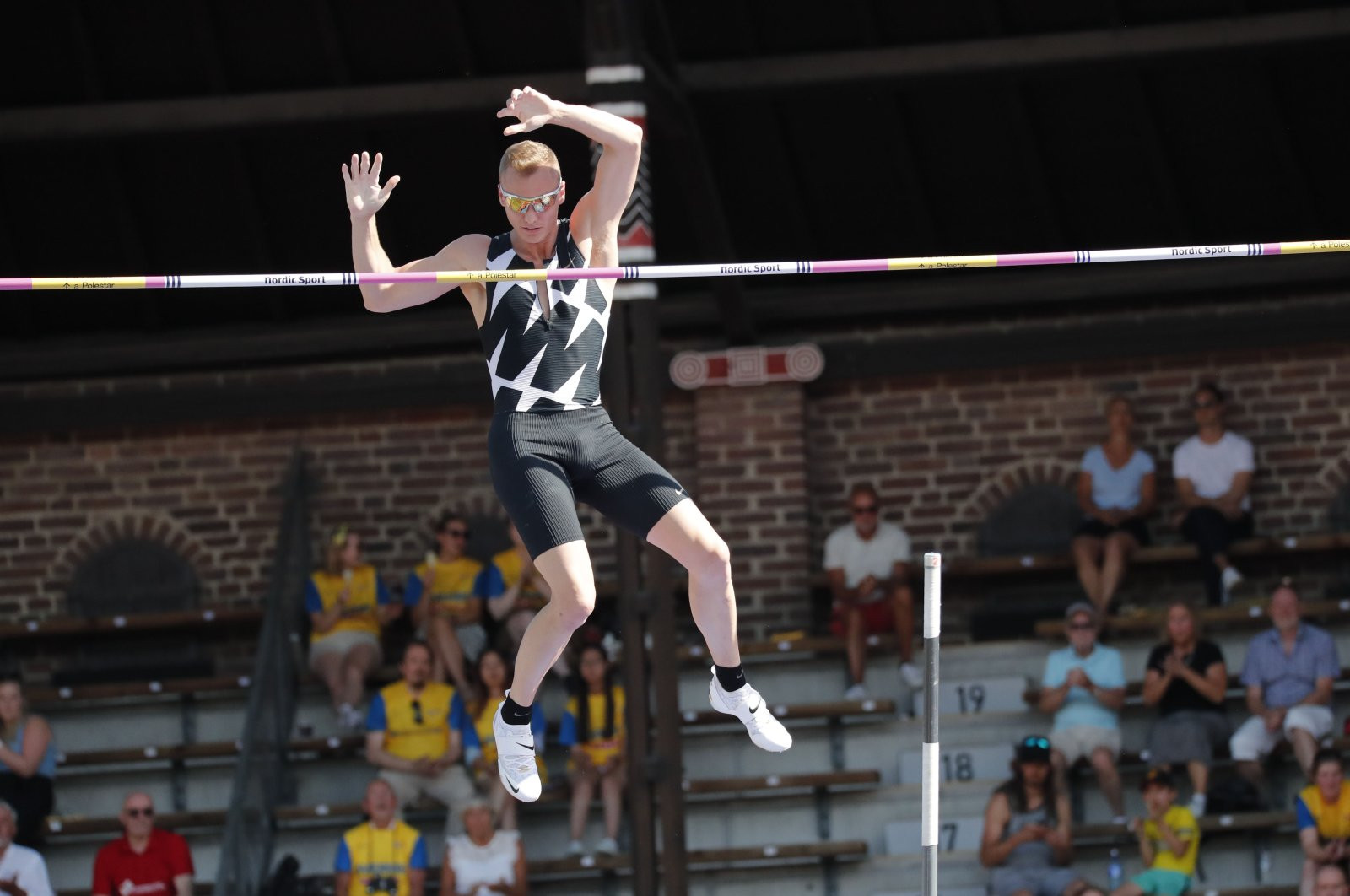 U.S. athlete Sam Kendricks in action at the Diamond League athletics meet in Stockholm, Sweden, July 4, 2021. (Reuters Photo)