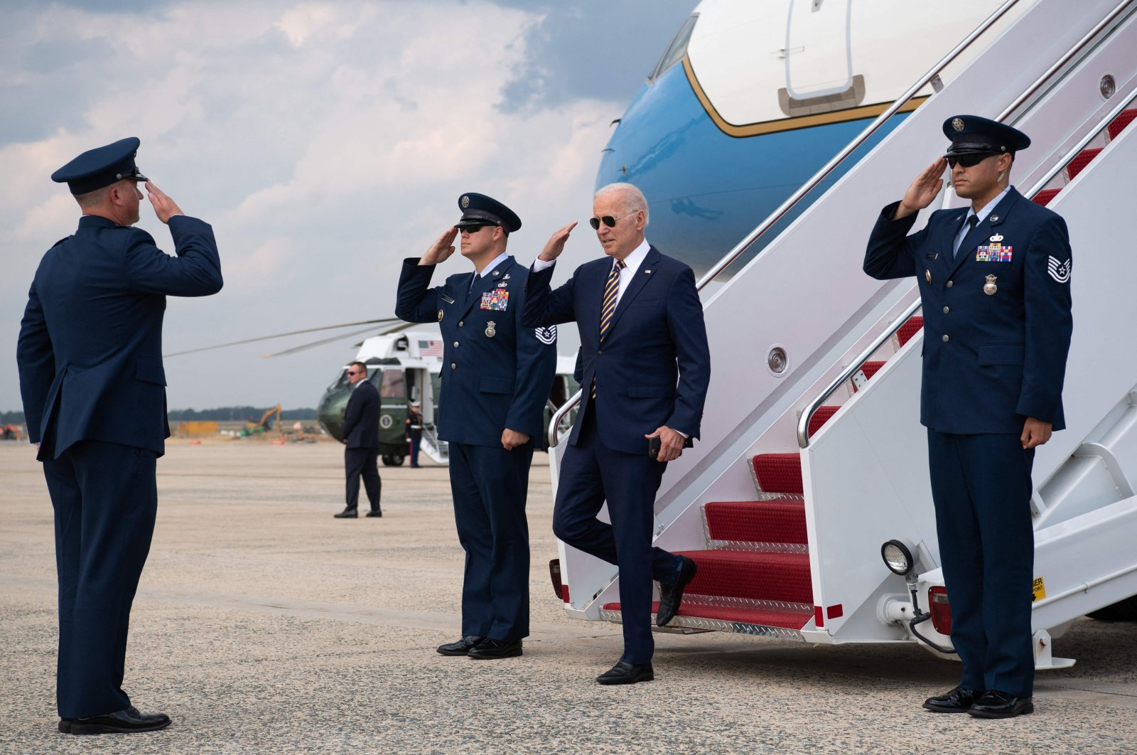 U.S. President Joe Biden disembarks from Air Force One upon arrival at Joint Base Andrews in Maryland, the U.S., July 28, 2021. (AFP Photo)