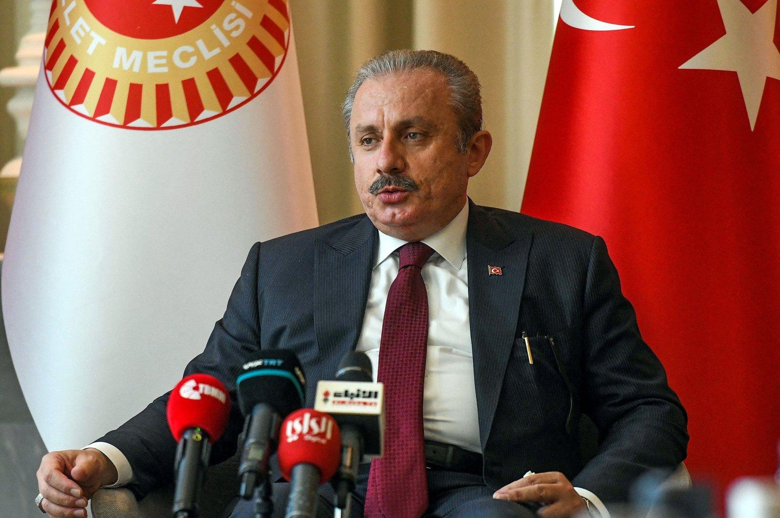 Turkey's Parliament Speaker Mustafa Şentop holds a news conference in Kuwait City on July 13, 2021. (AFP File Photo)