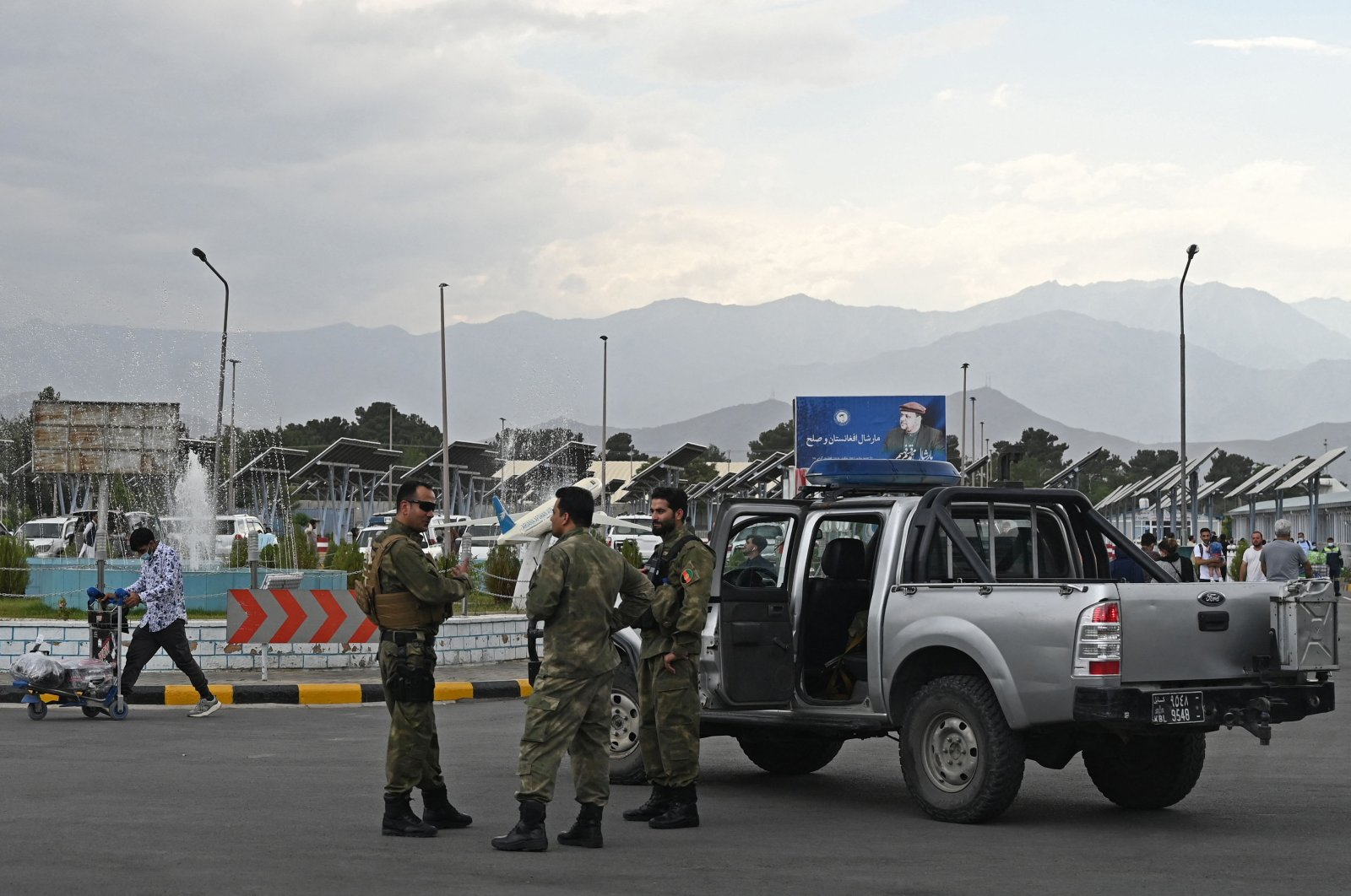 Afghan security personnel stand guard at the Kabul Hamid Karzai International Airport, Kabul, Afghanistan, July 16, 2021. (AFP Photo)
