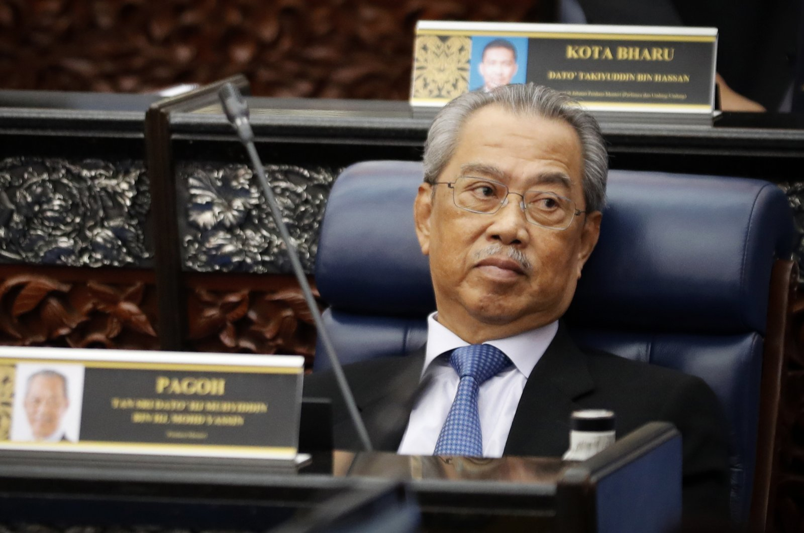 Malaysian Prime Minister Muhyiddin Yassin attends a Parliament session at lower house in Kuala Lumpur, Malaysia, July 13, 2020. (AP Photo)