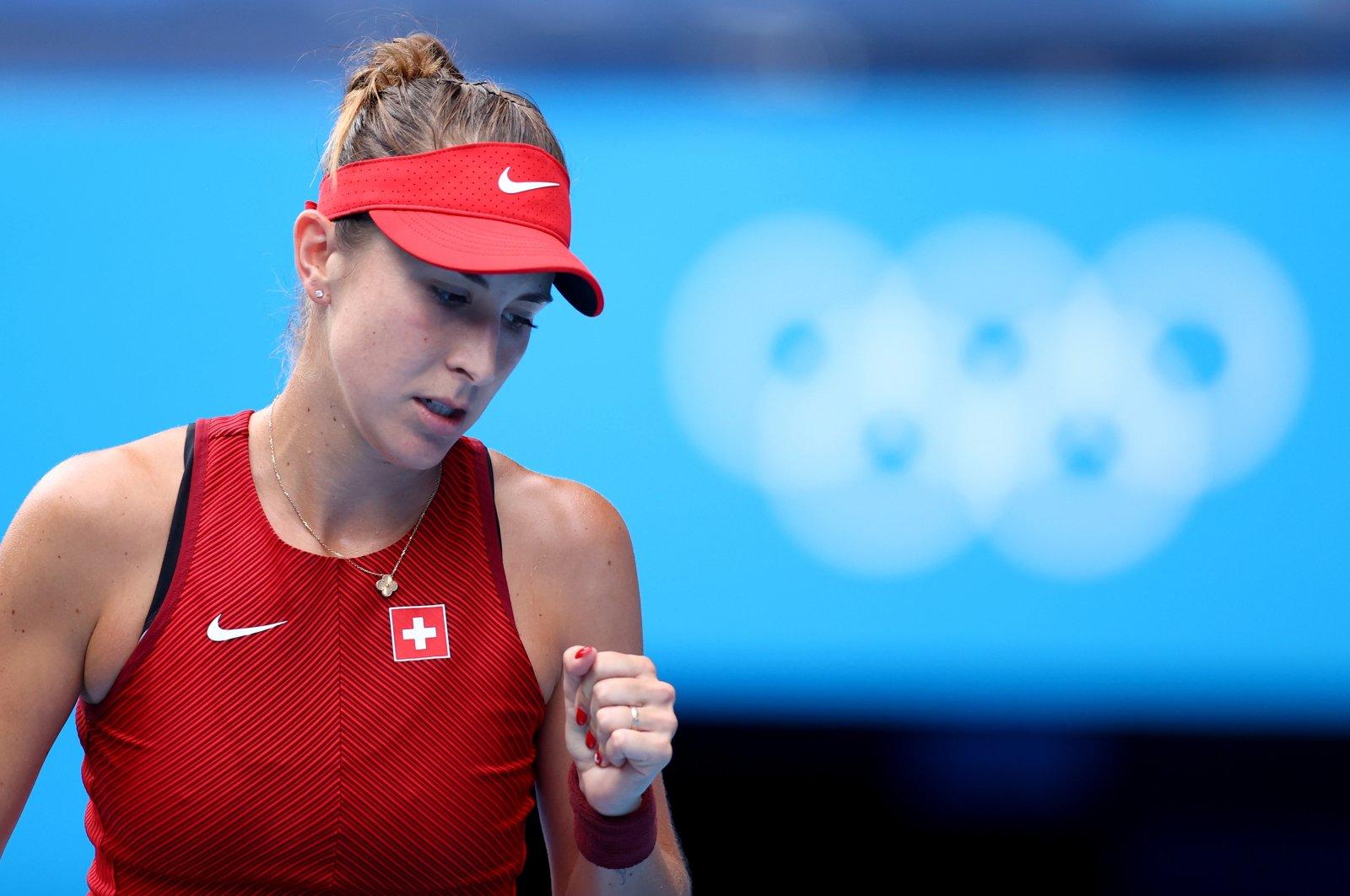 Switzerland's Belinda Bencic reacts during her Tokyo 2020 Olympics tennis women's singles semifinal match against Kazakhstan's Elena Rybakina at Ariake Tennis Park, Tokyo, Japan, July 29, 2021.