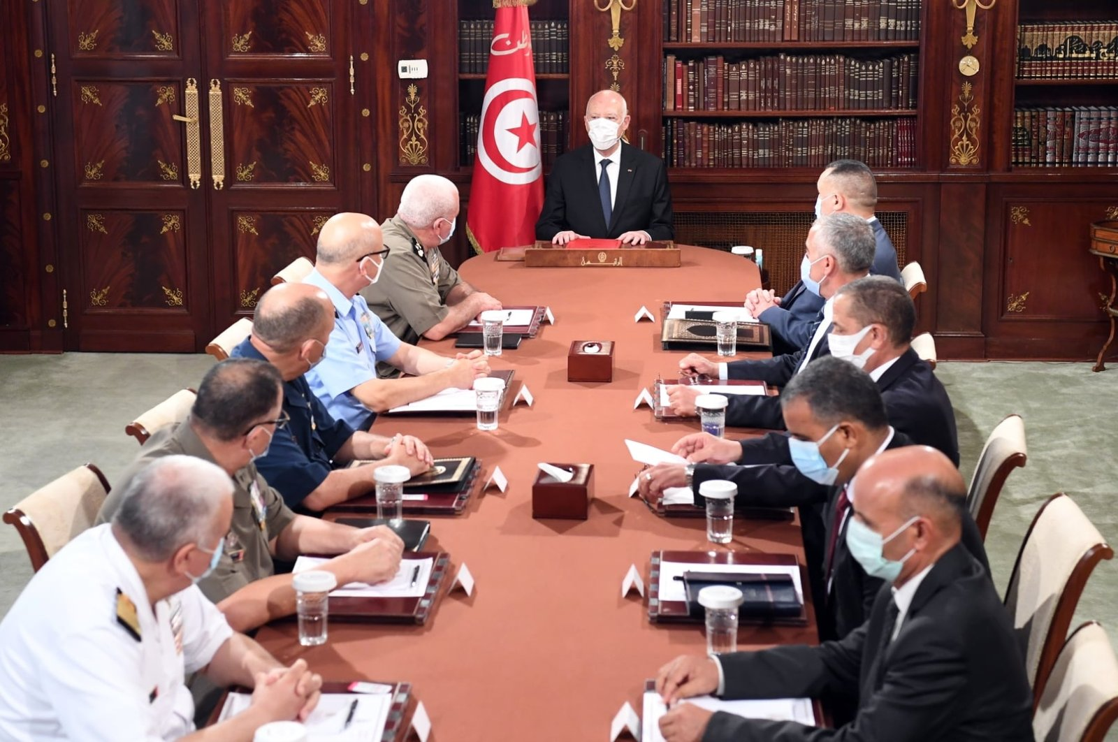Tunisian President Kais Saied holds a meeting with military command and security officials at the Presidential Palace, Tunis, Tunisia, July 28, 2021. (AA Photo)