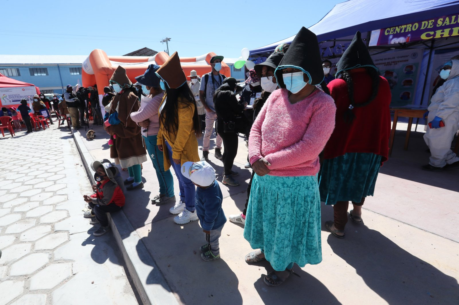 Community members attend a vaccination session against COVID-19, in Chipaya, Bolivia, July 23, 2021. (EPA Photo)