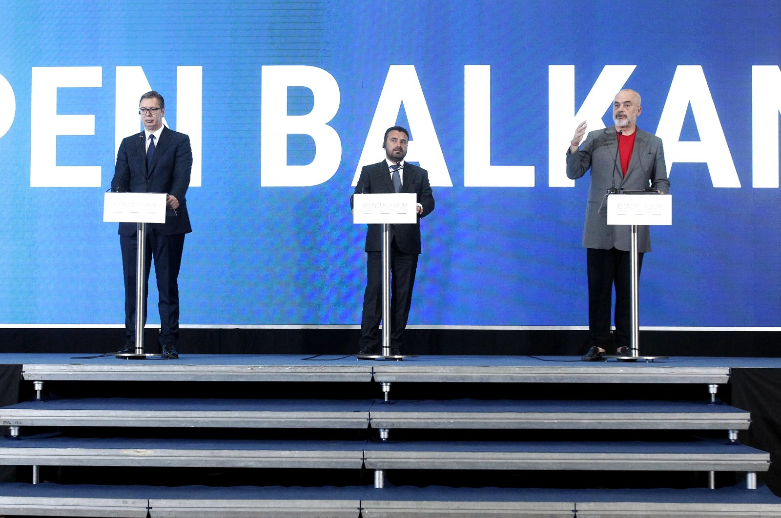 Serbia's President Aleksandar Vucic (left) North Macedonia's Prime Minister Zoran Zaev (center) and Albania's Prime Minister Edi Rama (right) hold a joint news conference just after the economic forum for regional cooperation in Skopje, North Macedonia, Thursday, July 29, 2021. (AP Photo)