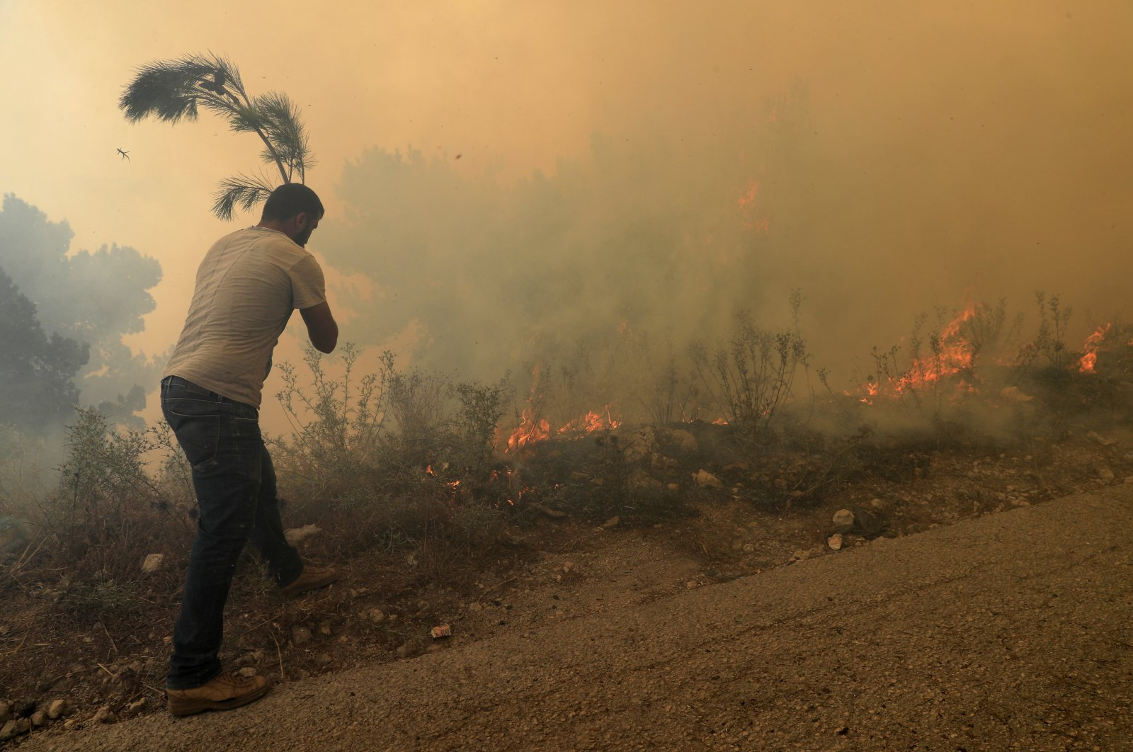 A man tries to extinguish a forest fire at Qobayat village, in the northern Akkar province, Lebanon, on July 29, 2021. (AP Photo)